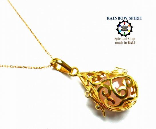 [GOLD K24RGP]中身が取り出せる純金コーティングネックレス(ローズクォーツ)