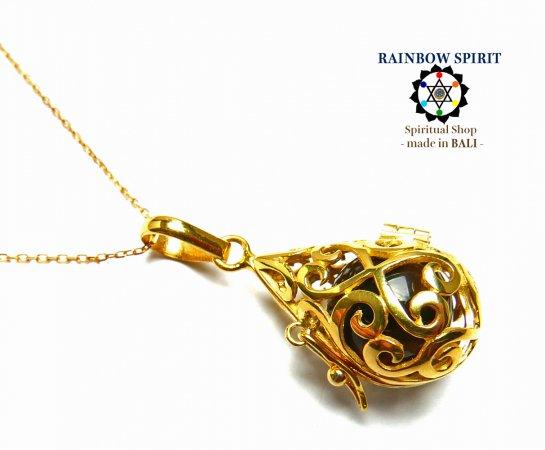 [GOLD K24RGP]中身が取り出せる純金コーティングネックレス(スモーキークォーツ/黒水晶)