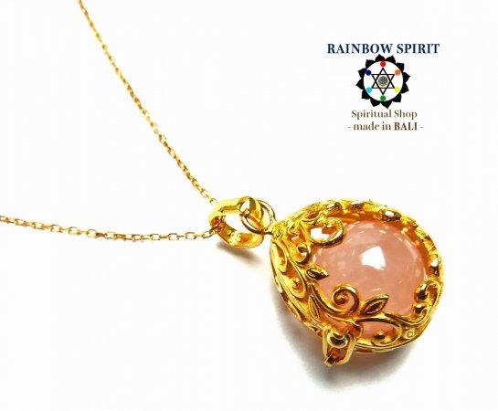 《バリ島ガムランボール》[純金コーティング/GOLD K24RGP]卵の形の中身が取り出せるゴールドネックレス(ローズクォーツ…