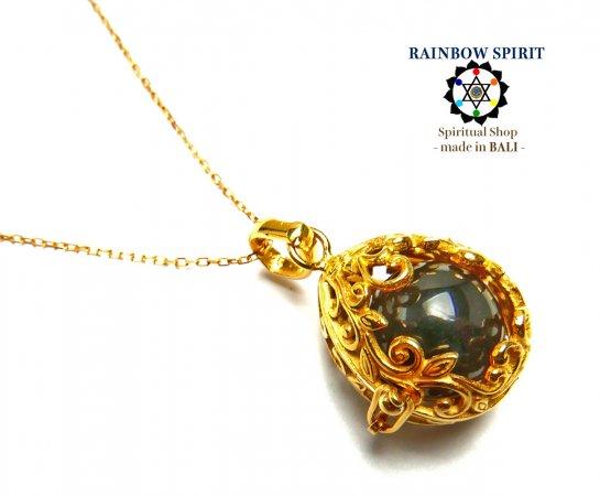 《バリ島ガムランボール》[純金コーティング/GOLD K24RGP]卵の形の中身が取り出せるゴールドネックレス(スモーキークォーツ…