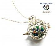 《バリ島ガムランボール》[Silver925]バリ島の神様「OM(オーム)」の中身が取り出せるシルバーネックレス(アズライト)