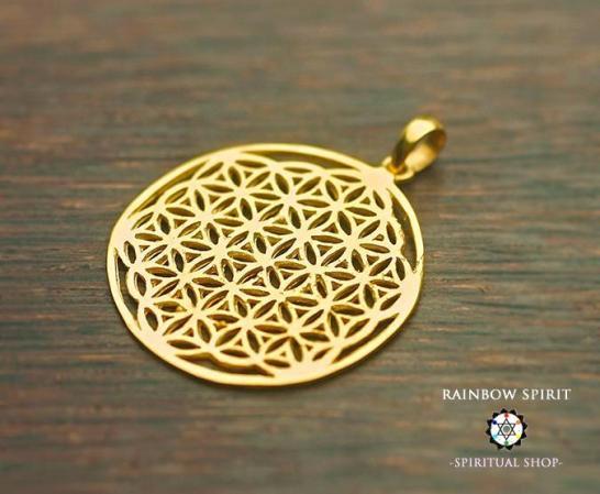 [K24RGP]Flower of Lifeシルバーペンダント・Lサイズ(神聖幾何学フラワーオブライフ:生命の花)