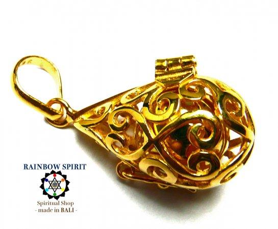 [GOLD K24RGP]ドロップ型のガムランボール/純金コーティングペンダント(オープンタイプ)