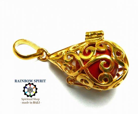 [GOLD K24RGP]中身が取り出せる純金コーティングペンダント(レッドジャスパー)
