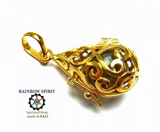 [GOLD K24RGP]中身が取り出せる純金コーティングペンダント(ラブラドライト)