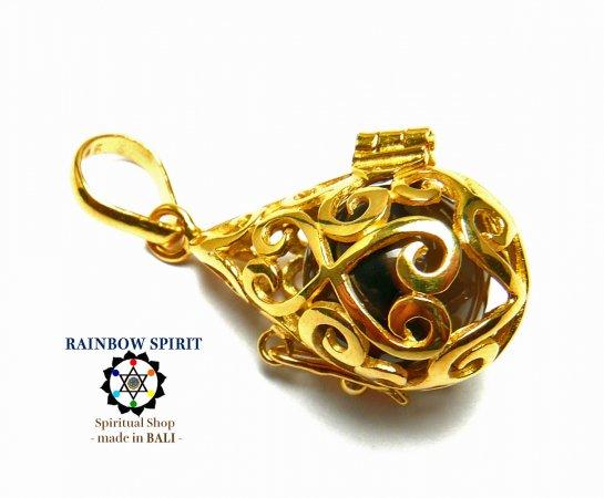 [GOLD K24RGP]中身が取り出せる純金コーティングペンダント(スモーキークォーツ/黒水晶)