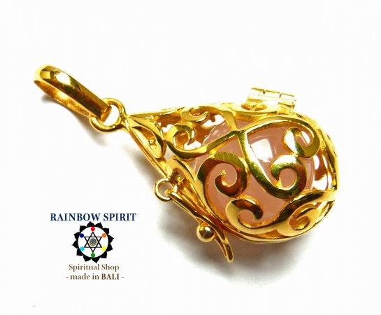 [GOLD K24RGP]中身が取り出せる純金コーティングペンダント(ローズクォーツ)