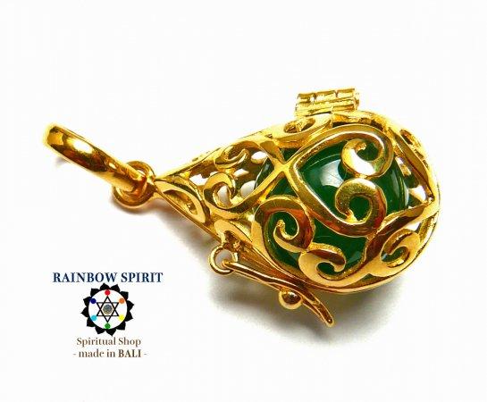 [GOLD K24RGP]中身が取り出せる純金コーティングペンダント(ジェイド/翡翠)