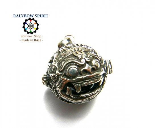 [Silver925]バリ島の神様「バロン」の中身が取り出せるシルバーペンダント(ヘマタイト)