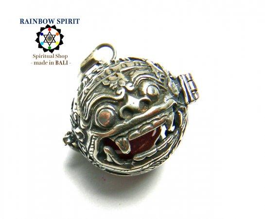 [Silver925]バリ島の神様「バロン」の中身が取り出せるシルバーペンダント(カーネリアン)