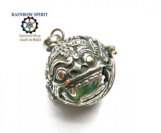[Silver925]バリ島の神様「バロン」の中身が取り出せるシルバーペンダント(フローライト)