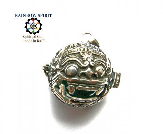 [Silver925]バリ島の神様「バロン」の中身が取り出せるシルバーペンダント(アズライト)