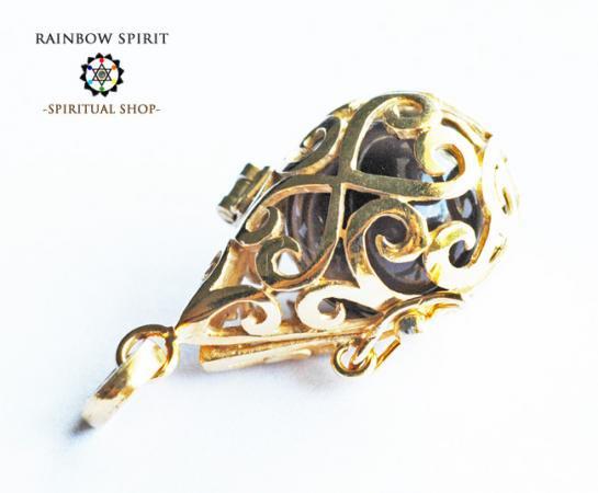 [GOLD K18RGP]中身が取り出せる18金コーティングペンダント(スモーキークォーツ/黒水晶)