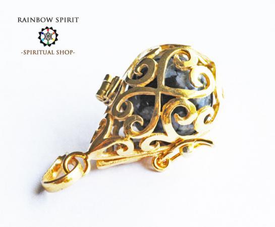[GOLD K18RGP]中身が取り出せる18金コーティングペンダント(スノウフレイクオブシディアン)
