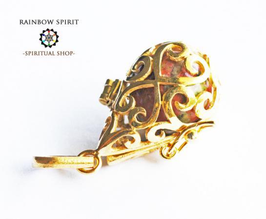 [GOLD K18RGP]中身が取り出せる18金コーティングペンダント(ウナカイト/ユナカイト)