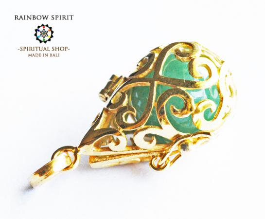 [GOLD K18RGP]中身が取り出せる18金コーティングペンダント(アベンチュリン)