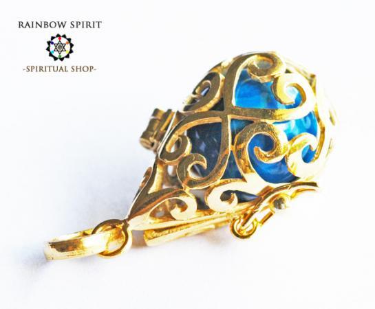 [GOLD K18RGP]中身が取り出せる18金コーティングペンダント(ターコイズ/トルコ石)