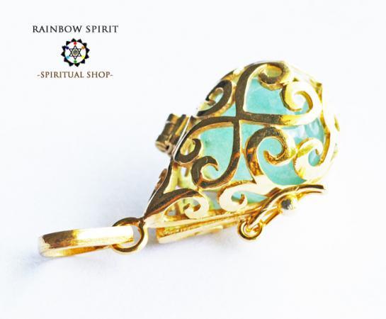 [GOLD K18RGP]中身が取り出せる18金コーティングペンダント(フローライト/蛍石)