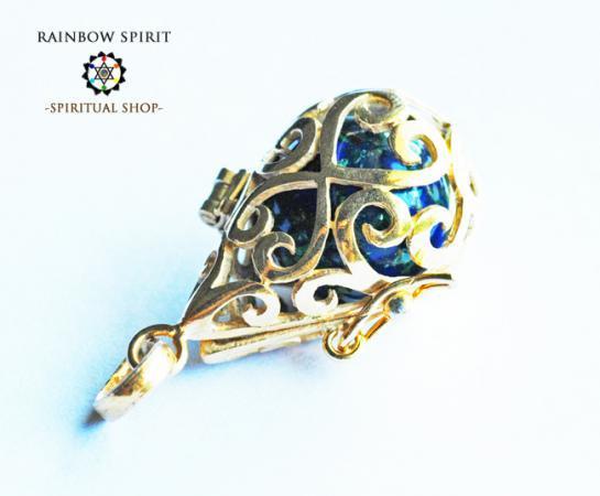 [GOLD K18RGP]中身が取り出せる18金コーティングペンダント(アズライト)