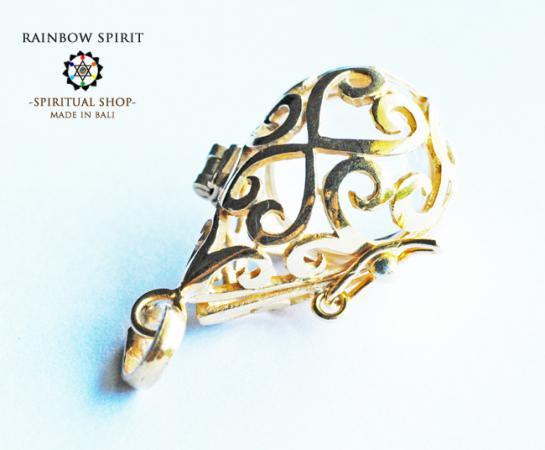 [GOLD K18RGP]中身が取り出せる18金コーティングペンダント(クリスタル/水晶)