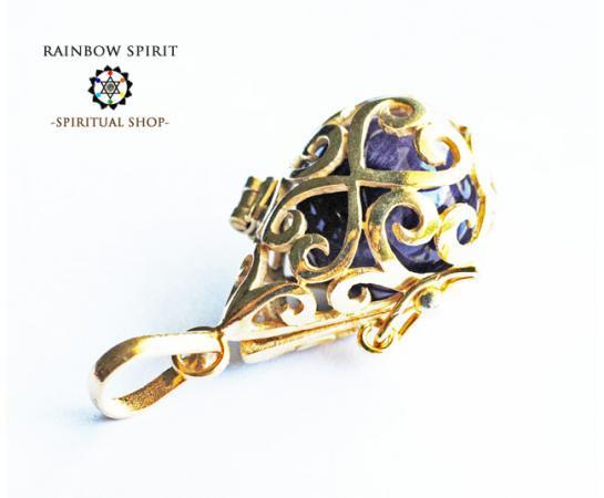 [GOLD K24RGP]中身が取り出せる純金コーティングペンダント(アメジスト/紫水晶)
