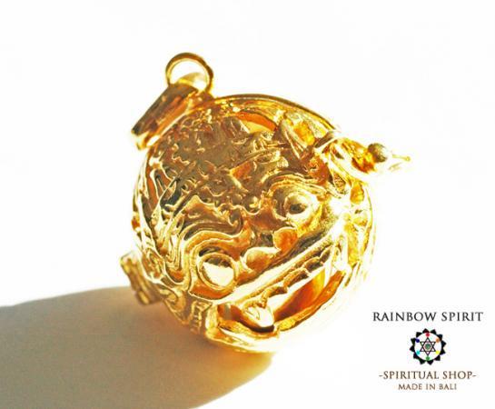 [GOLD K24RGP]聖獣バロンのガムランボール/純金コーティングゴールドペンダント(オープンタイプ)