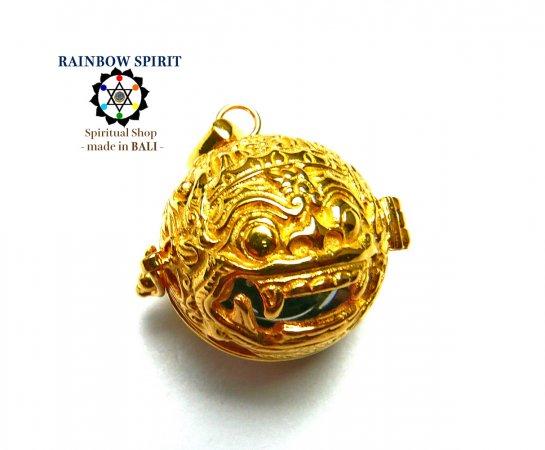 [GOLD K24RGP]バリ島の神様「バロン」の中身が取り出せる純金コーティングペンダント(ヘマタイト)
