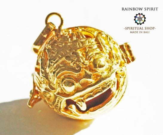[K24RGP]バリ島の神様「バロン」の中身が取り出せる純金コーティングペンダント(レッドジャスパー)
