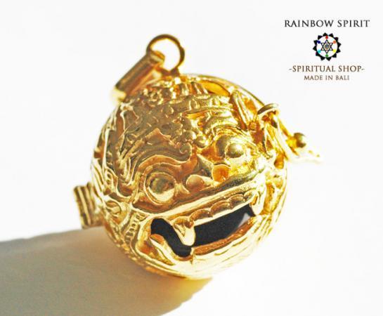 [K24RGP]バリ島の神様「バロン」の中身が取り出せる純金コーティングペンダント(オブシディアン)