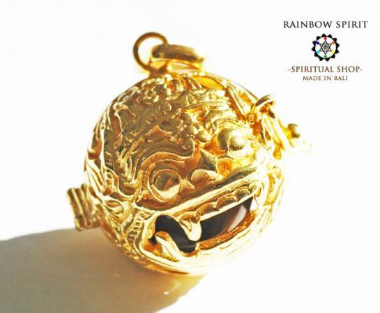 [K24RGP]バリ島の神様「バロン」の中身が取り出せる純金コーティングペンダント(タイガーアイ)
