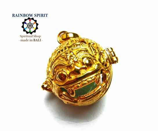 [K24RGP]バリ島の神様「バロン」の中身が取り出せる純金コーティングペンダント(アベンチュリン)