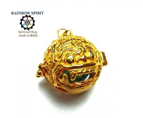 [K24RGP]バリ島の神様「バロン」の中身が取り出せる純金コーティングペンダント(アズライト)