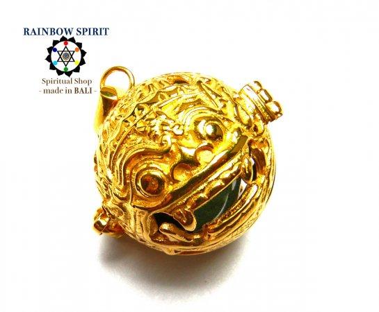 [K24RGP]バリ島の神様「バロン」の中身が取り出せる純金コーティングペンダント(アメジスト)