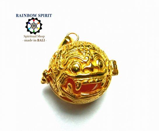 [K24RGP]バリ島の神様「バロン」の中身が取り出せる純金コーティングペンダント(クリスタル/水晶)