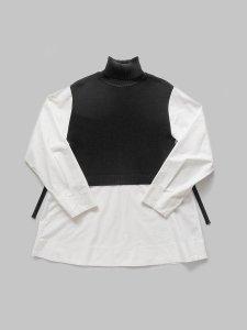 タートルネックニット×ロングシャツ(2020-21 Autumn Collection)
