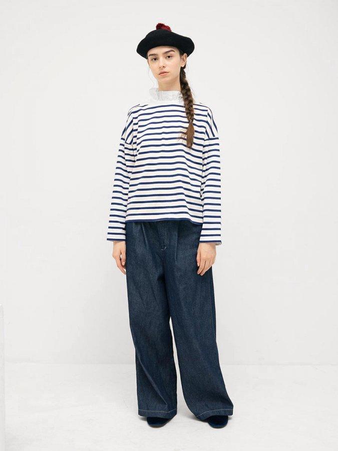 フリルカラーボーダーシャツ(2021-22 Autumn Winter Collection) 1
