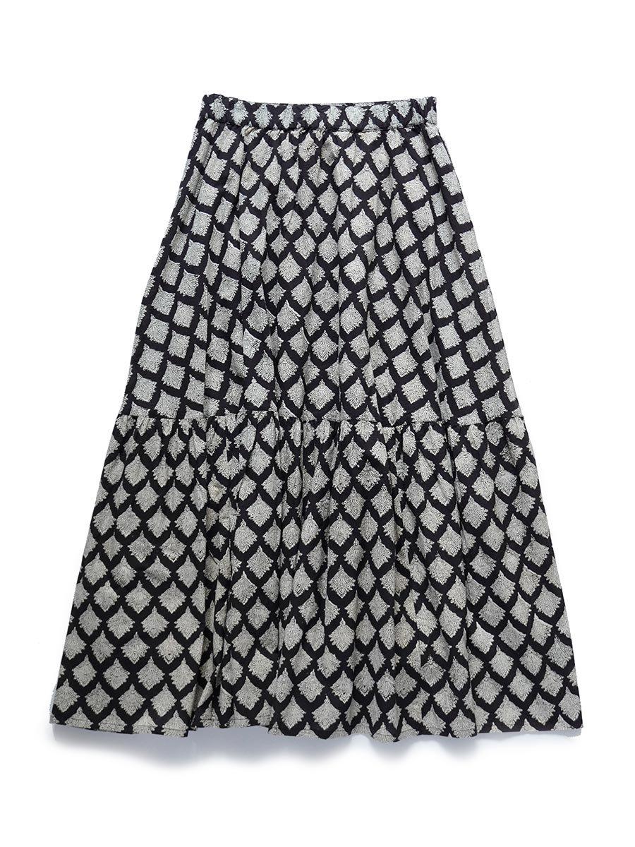 ブロックプリントティアードスカート(2021-22 Autumn Winter Collection) 2