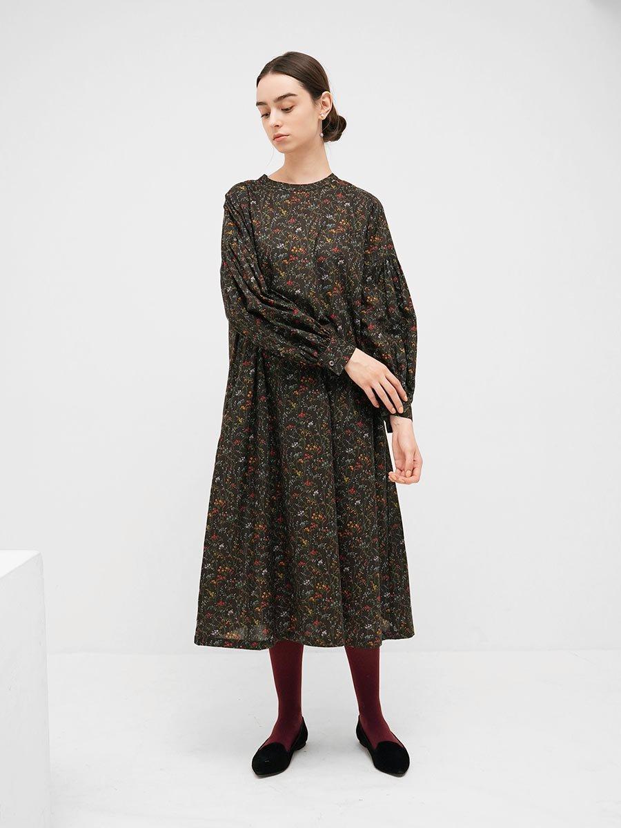 LIBERTY PRINTギャザースリーブドレス(2021-22 Autumn Winter Collection) 8