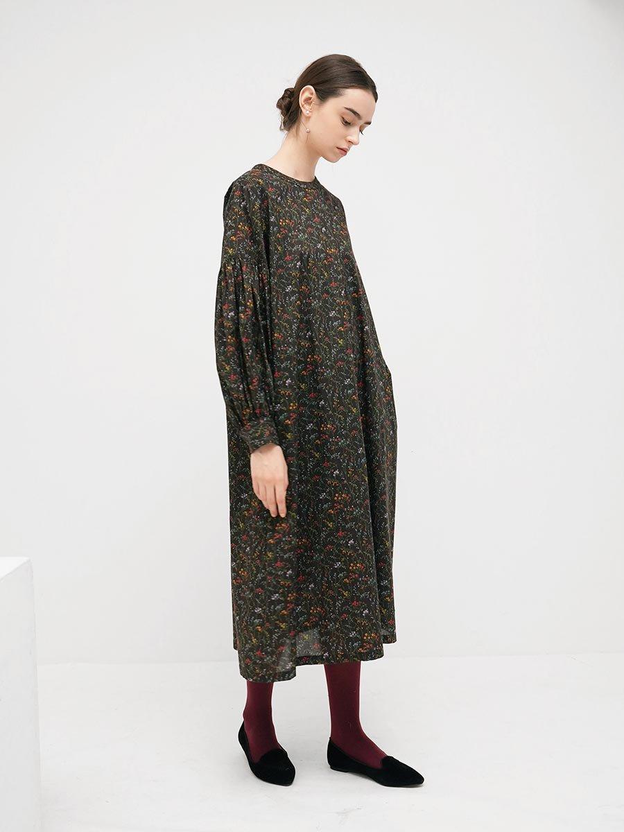 LIBERTY PRINTギャザースリーブドレス(2021-22 Autumn Winter Collection) 9