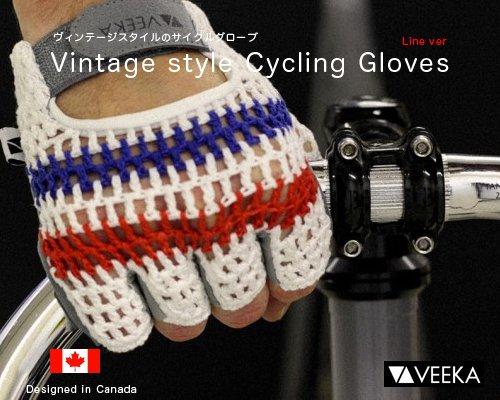 メール便可◆カナダ発革製「ヴィンテージスタイルサイクリンググローブ/Line ver」
