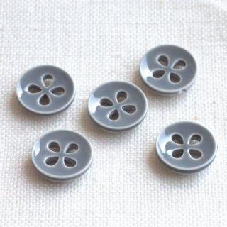 ボタン 四つ葉グレー