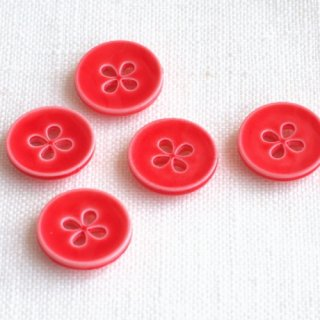ボタン 四つ葉 赤15mm