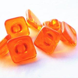チェコのガラスボタン オレンジ