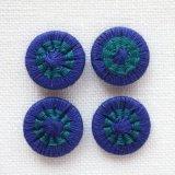 チェコの糸ボタン 14mm  濃紺/グリーン