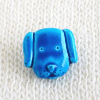 ボタン 青い犬 15mm