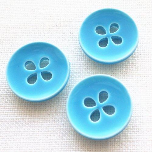 ボタン 四つ葉ブルー