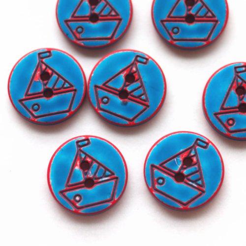 ボタン ヨット 青×赤