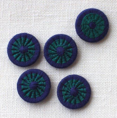 チェコの糸ボタン16mm 濃紺/グリーン