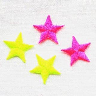 ネオンカラーの星のアップリケ