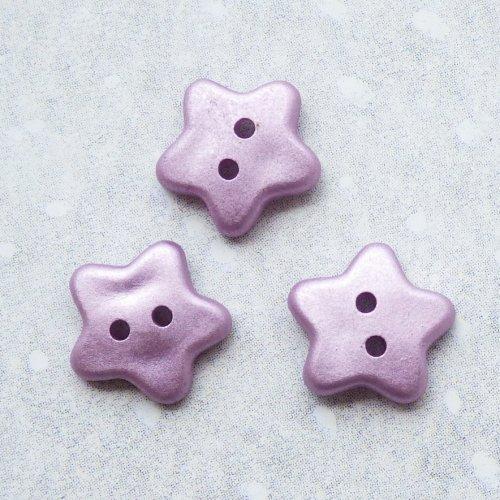 ボタン ラベンダー色の星